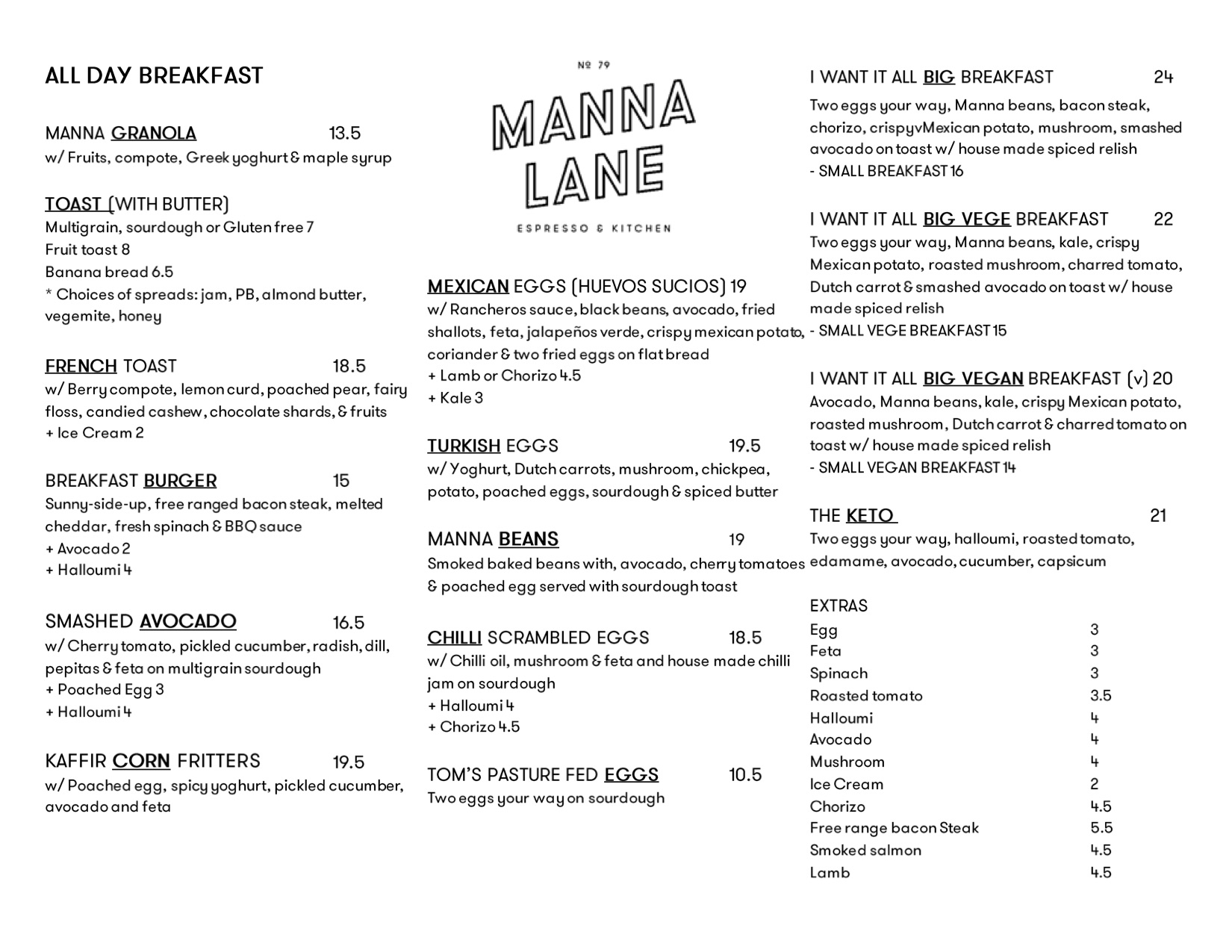 Manna Lane summer menu, 2021, front page.